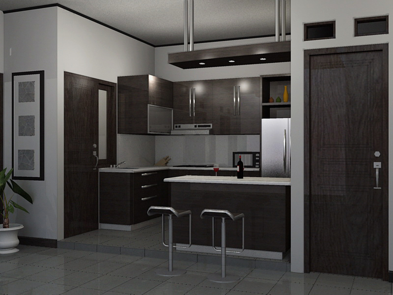 Desain Kitchen Set Dengan Mini Bar Modern Home Interior Ideas